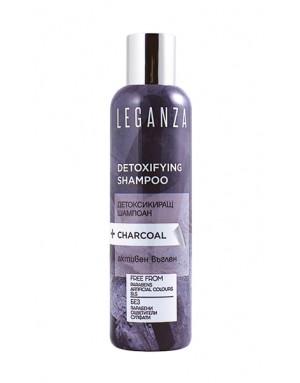 Leganza DETOX Shampoo+Charcoal 0%SLS, 0%Parabenen, 0%Kleurstoffen o.a. Anti-Haaruitval, Haargroei  - Zonder Sulfaat en SLS 200ml