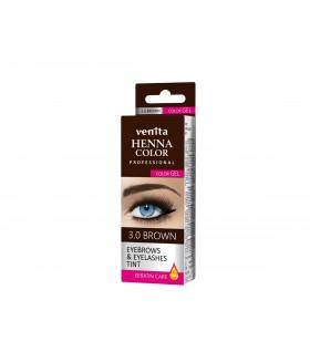 HENNA COLOR WIMPERVERF en WENKBRAUWVERF Color Gel Keratin Care Brown 3.0