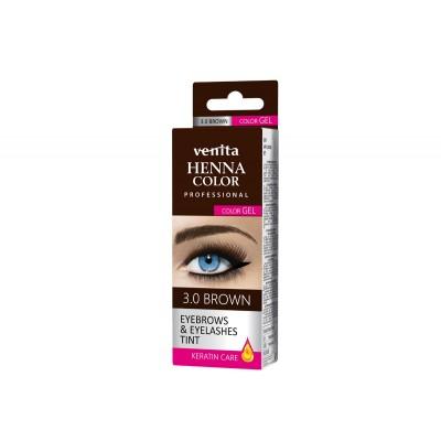HENNA COLOR Professional WIMPERVERF en WENKBRAUWVERF Color Gel Keratin Care Brown 3.0
