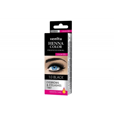 HENNA COLOR WIMPERVERF en WENKBRAUWVERF Color Gel Keratin Care Black 1.0