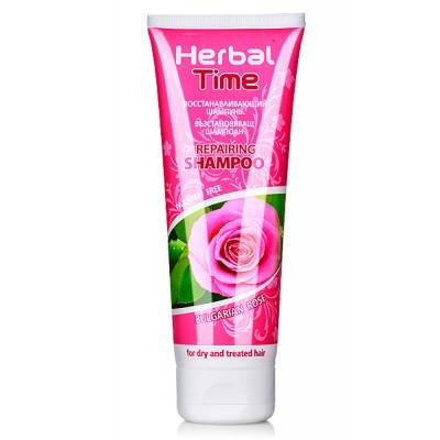 HERBAL TIME Herstellende Shampoo met Rozen Extract voor Droog -en Behandeld haar Zonder Parabenen 250ml