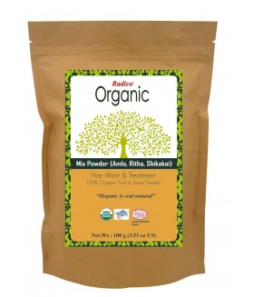 ORGANIC AMLA, RITHA / REETHA, SHIKAKAI 100% Natuurlijke BIO Organic Anti-Haaruitval, Anti-Roos, Anti-Vergrijzing, Haargroei, Care, Volume, Voedende Poeder 7-in-1 100g